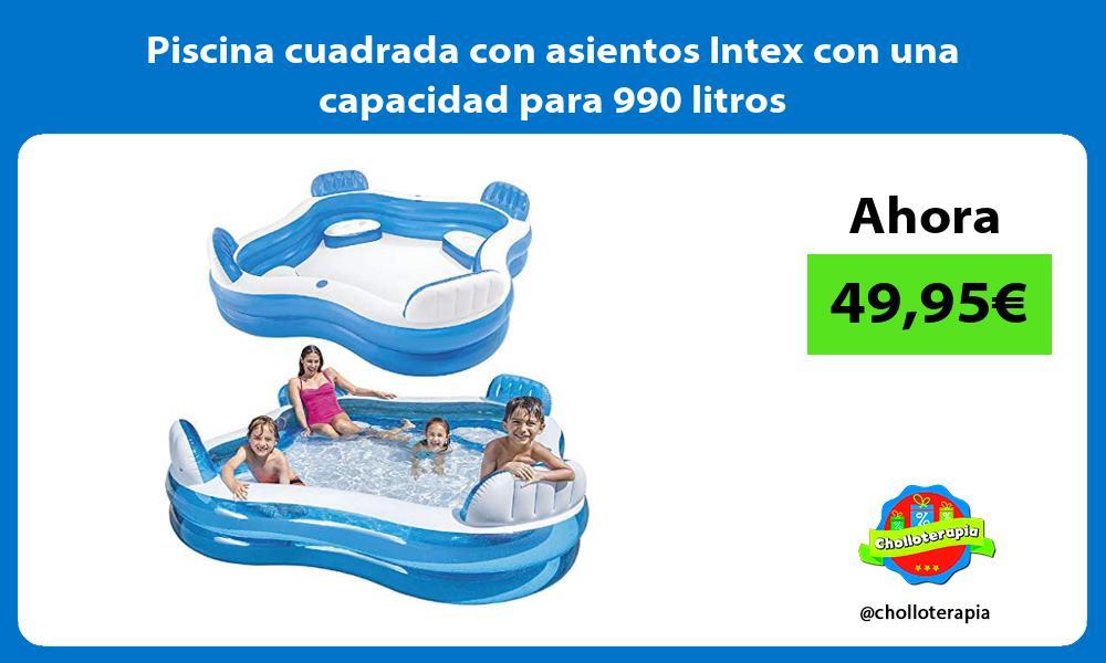Piscina cuadrada con asientos Intex con una capacidad para 990 litros