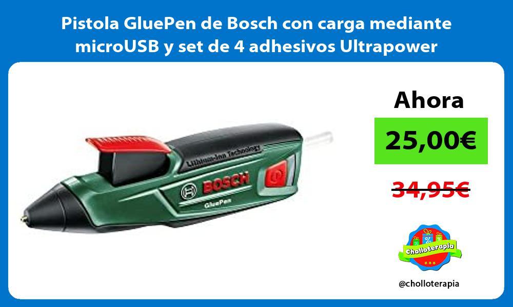 Pistola GluePen de Bosch con carga mediante microUSB y set de 4 adhesivos Ultrapower