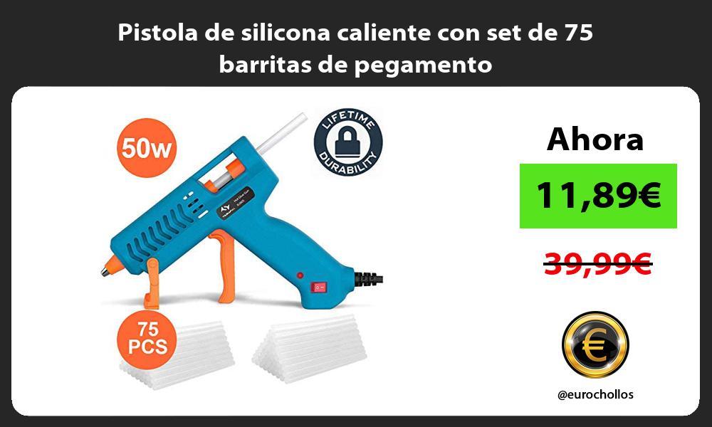 Pistola de silicona caliente con set de 75 barritas de pegamento