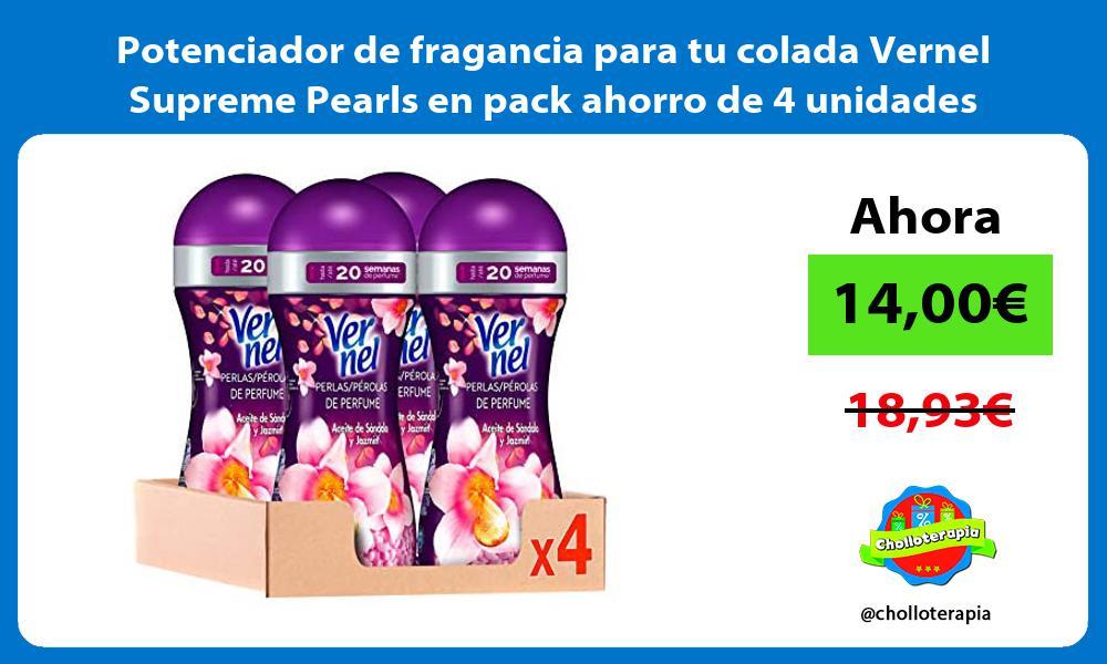 Potenciador de fragancia para tu colada Vernel Supreme Pearls en pack ahorro de 4 unidades