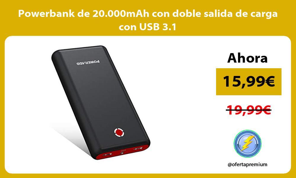 Powerbank de 20 000mAh con doble salida de carga con USB 3 1