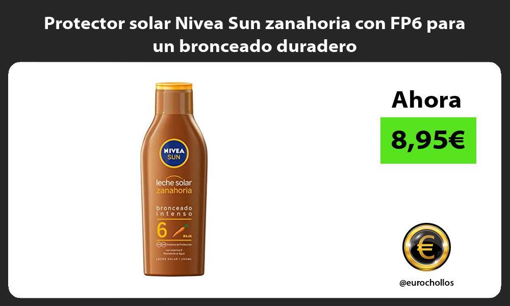 Protector solar Nivea Sun zanahoria con FP6 para un bronceado duradero