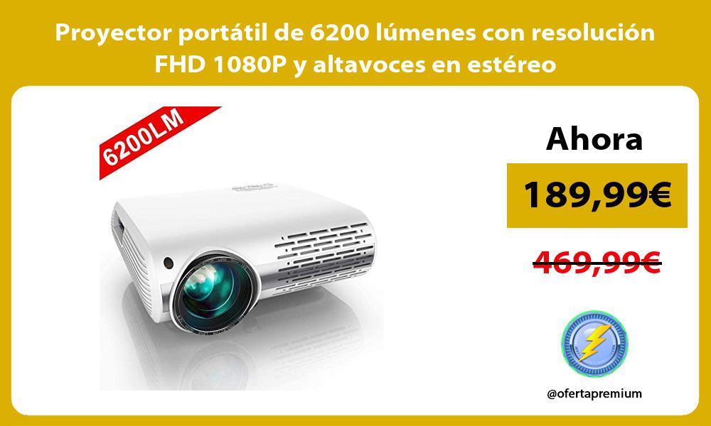 Proyector portátil de 6200 lúmenes con resolución FHD 1080P y altavoces en estéreo