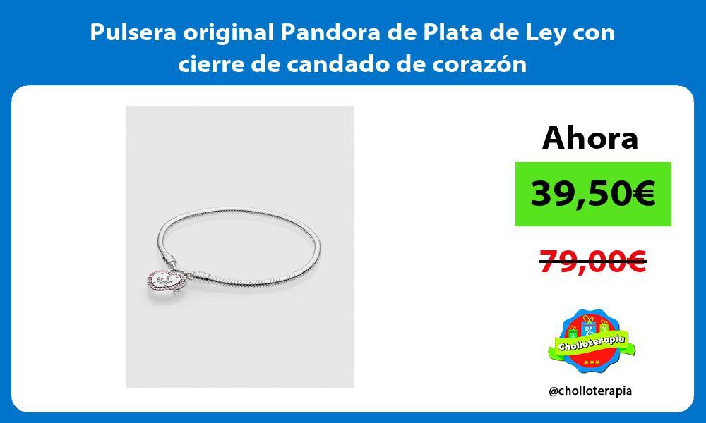 Pulsera original Pandora de Plata de Ley con cierre de candado de corazón