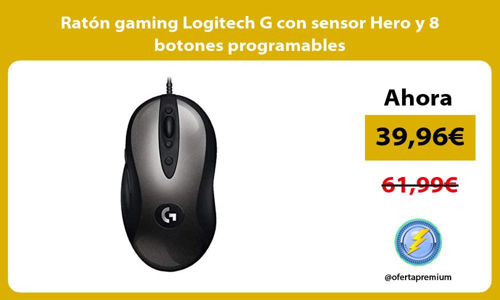 Ratón gaming Logitech G con sensor Hero y 8 botones programables