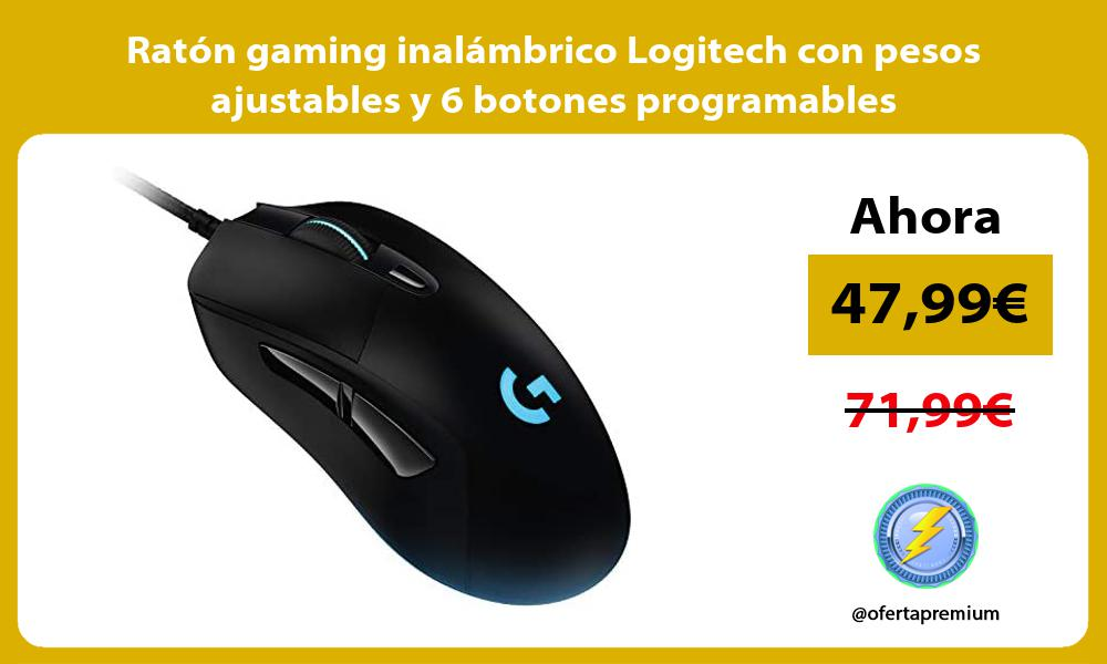 Ratón gaming inalámbrico Logitech con pesos ajustables y 6 botones programables