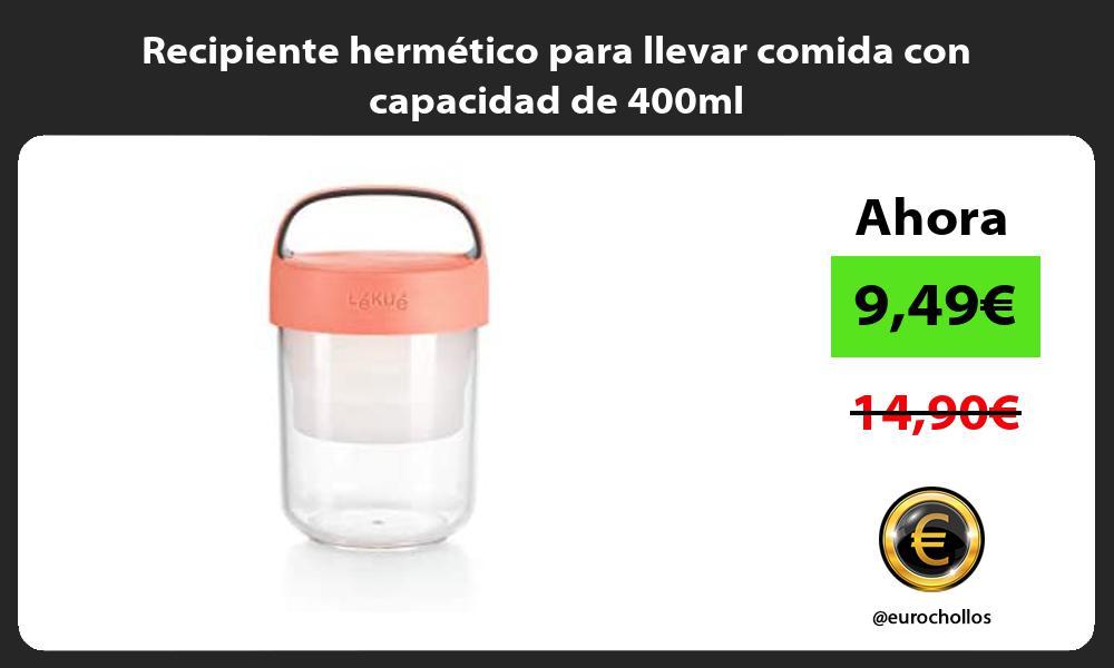 Recipiente hermético para llevar comida con capacidad de 400ml