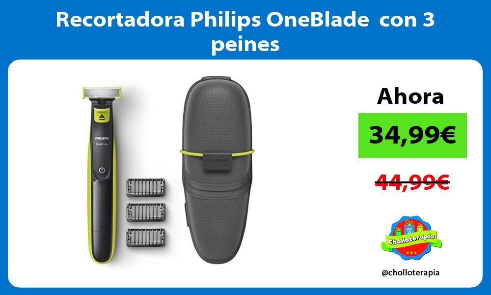 Recortadora Philips OneBlade con 3 peines