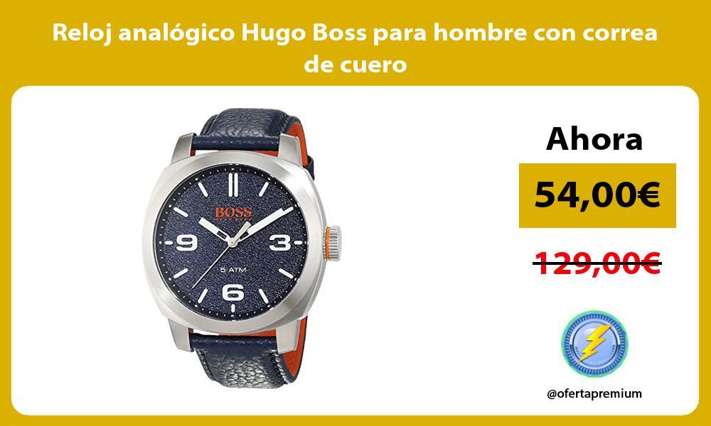 Reloj analógico Hugo Boss para hombre con correa de cuero