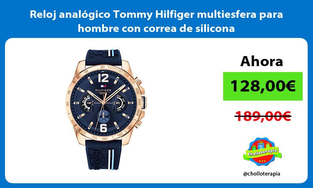 Reloj analógico Tommy Hilfiger multiesfera para hombre con correa de silicona