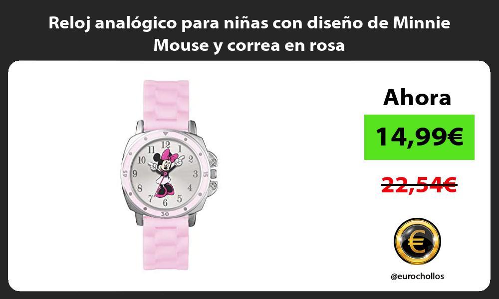 Reloj analógico para niñas con diseño de Minnie Mouse y correa en rosa