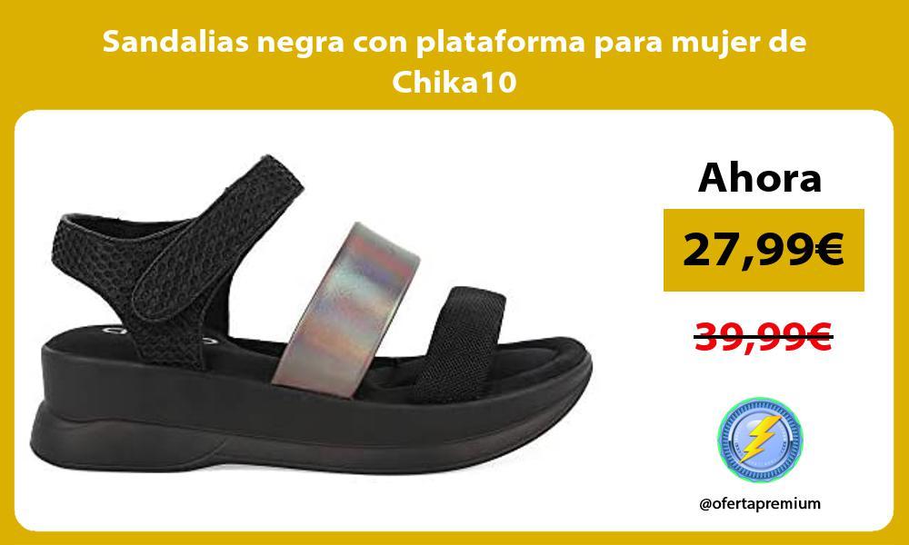 Sandalias negra con plataforma para mujer de Chika10