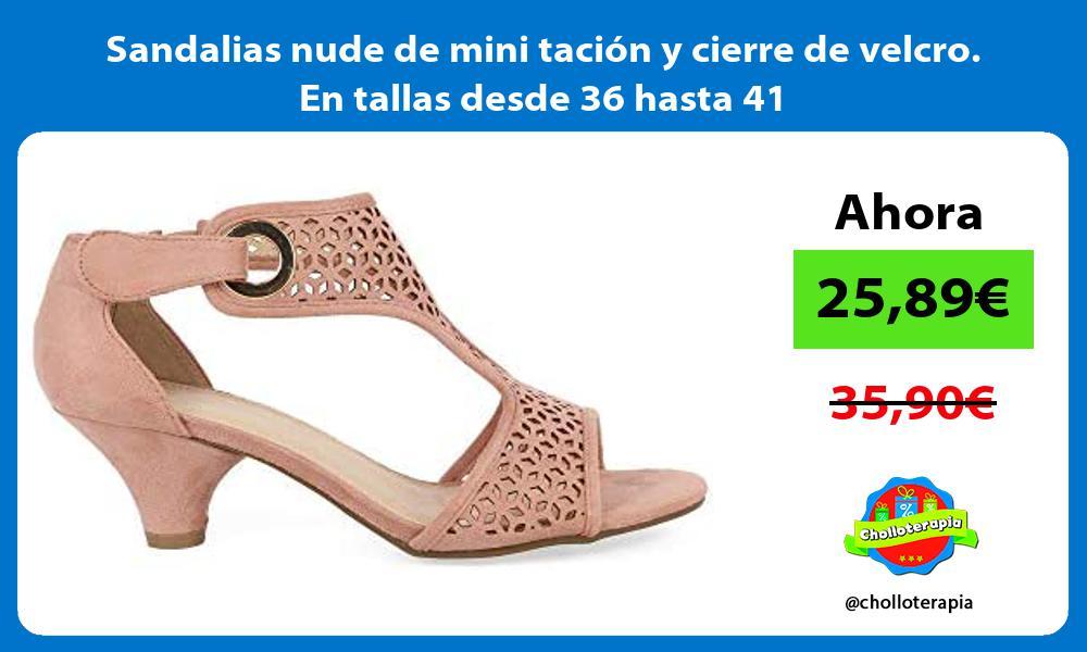 Sandalias nude de mini tación y cierre de velcro En tallas desde 36 hasta 41