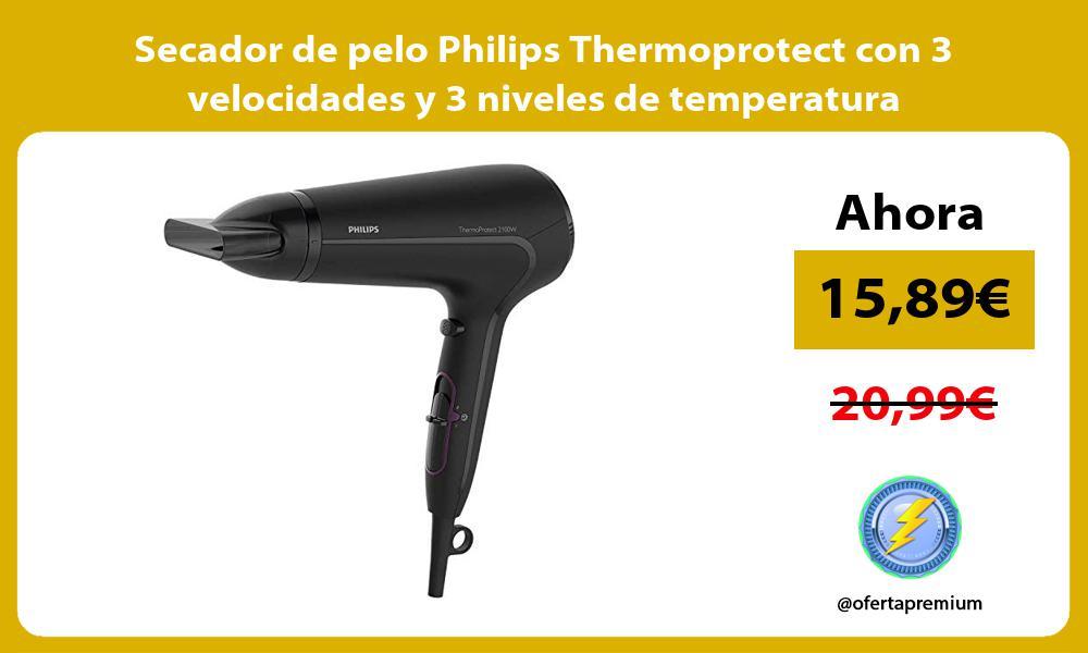 Secador de pelo Philips Thermoprotect con 3 velocidades y 3 niveles de temperatura