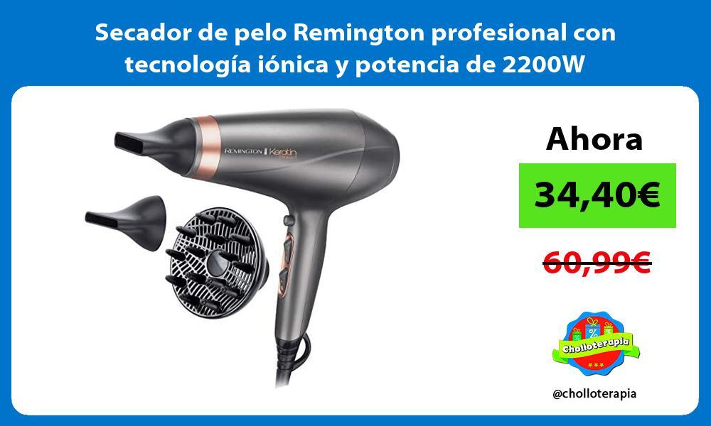 Secador de pelo Remington profesional con tecnología iónica y potencia de 2200W
