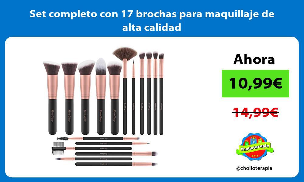 Set completo con 17 brochas para maquillaje de alta calidad
