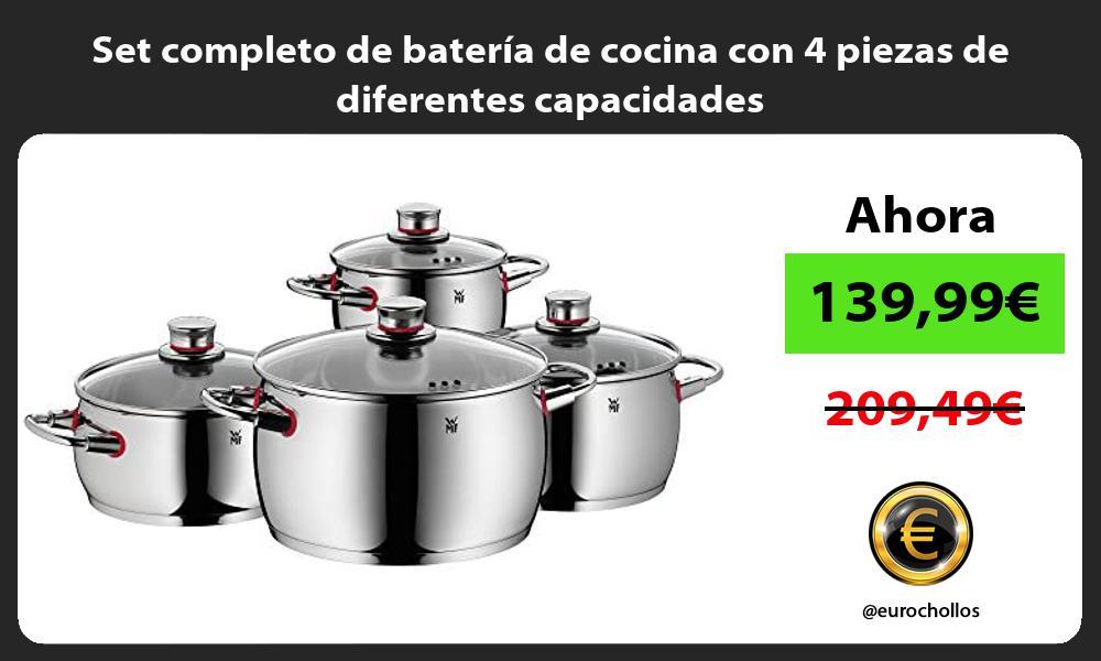 Set completo de batería de cocina con 4 piezas de diferentes capacidades