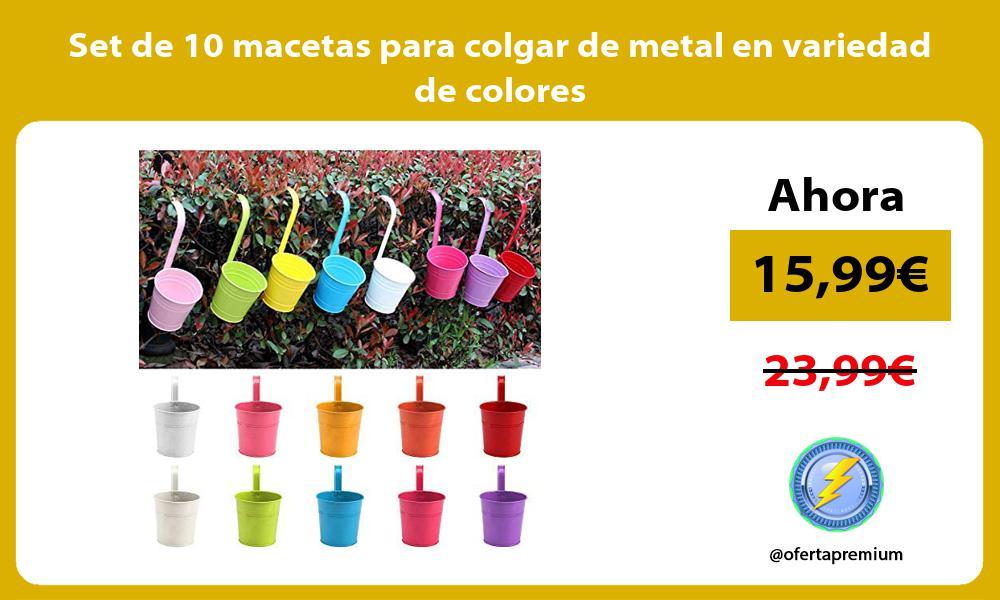 Set de 10 macetas para colgar de metal en variedad de colores
