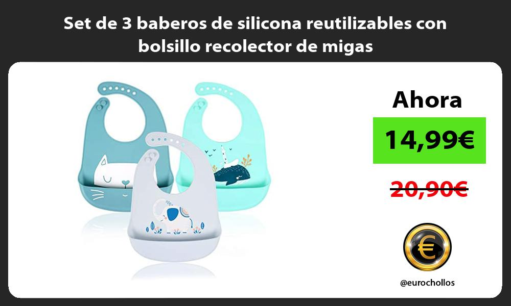 Set de 3 baberos de silicona reutilizables con bolsillo recolector de migas