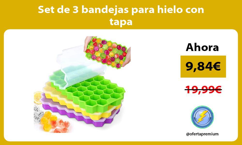 Set de 3 bandejas para hielo con tapa