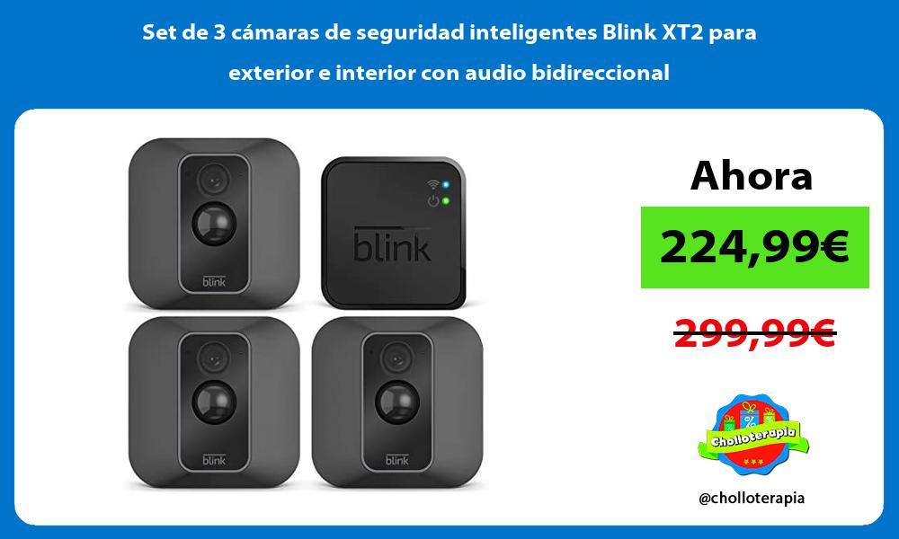 Set de 3 cámaras de seguridad inteligentes Blink XT2 para exterior e interior con audio bidireccional