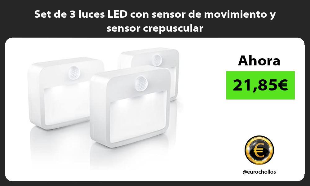 Set de 3 luces LED con sensor de movimiento y sensor crepuscular