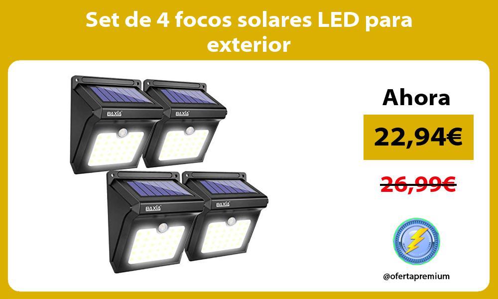 Set de 4 focos solares LED para exterior