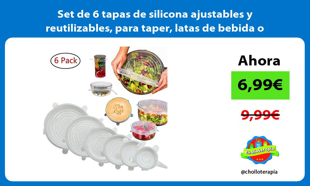 Set de 6 tapas de silicona ajustables y reutilizables para taper latas de bebida o comida
