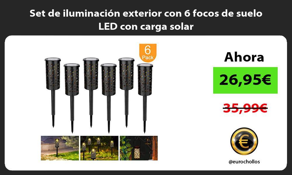 Set de iluminación exterior con 6 focos de suelo LED con carga solar