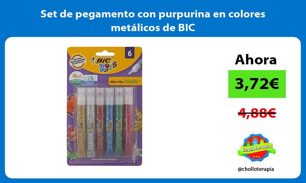 Set de pegamento con purpurina en colores metálicos de BIC