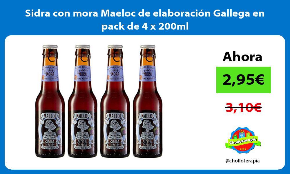 Sidra con mora Maeloc de elaboración Gallega en pack de 4 x 200ml