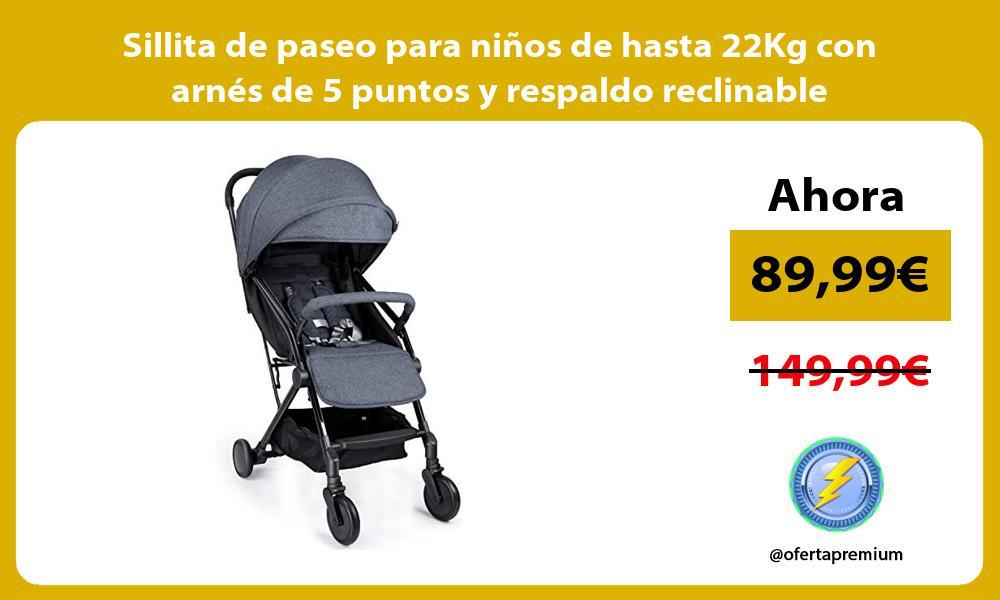 Sillita de paseo para niños de hasta 22Kg con arnés de 5 puntos y respaldo reclinable