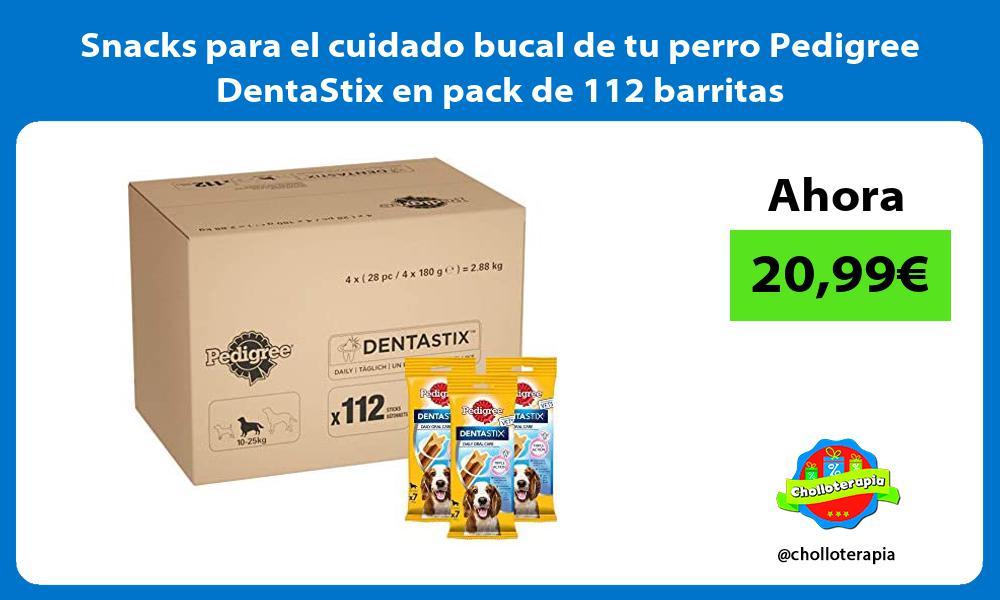 Snacks para el cuidado bucal de tu perro Pedigree DentaStix en pack de 112 barritas
