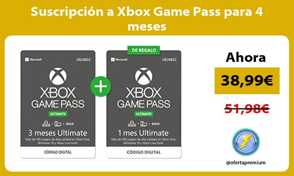 Suscripción a Xbox Game Pass para 4 meses