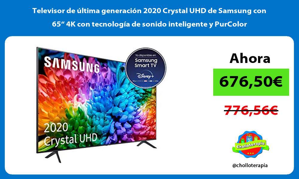 """Televisor de última generación 2020 Crystal UHD de Samsung con 65"""" 4K con tecnología de sonido inteligente y PurColor"""