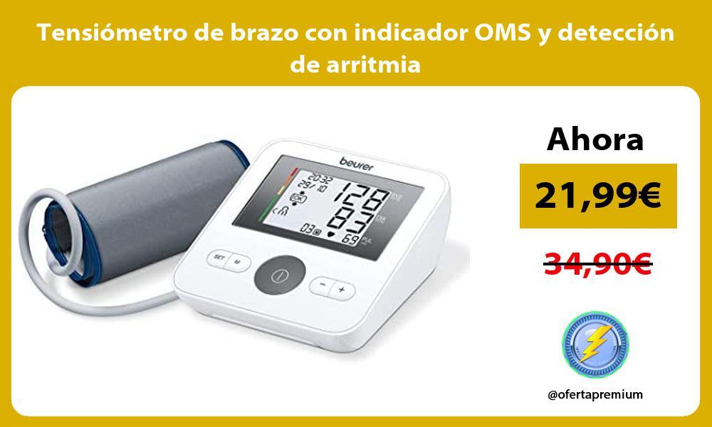 Tensiómetro de brazo con indicador OMS y detección de arritmia