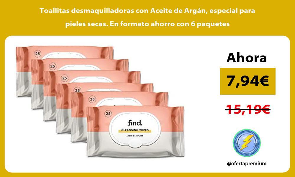 Toallitas desmaquilladoras con Aceite de Argán especial para pieles secas En formato ahorro con 6 paquetes