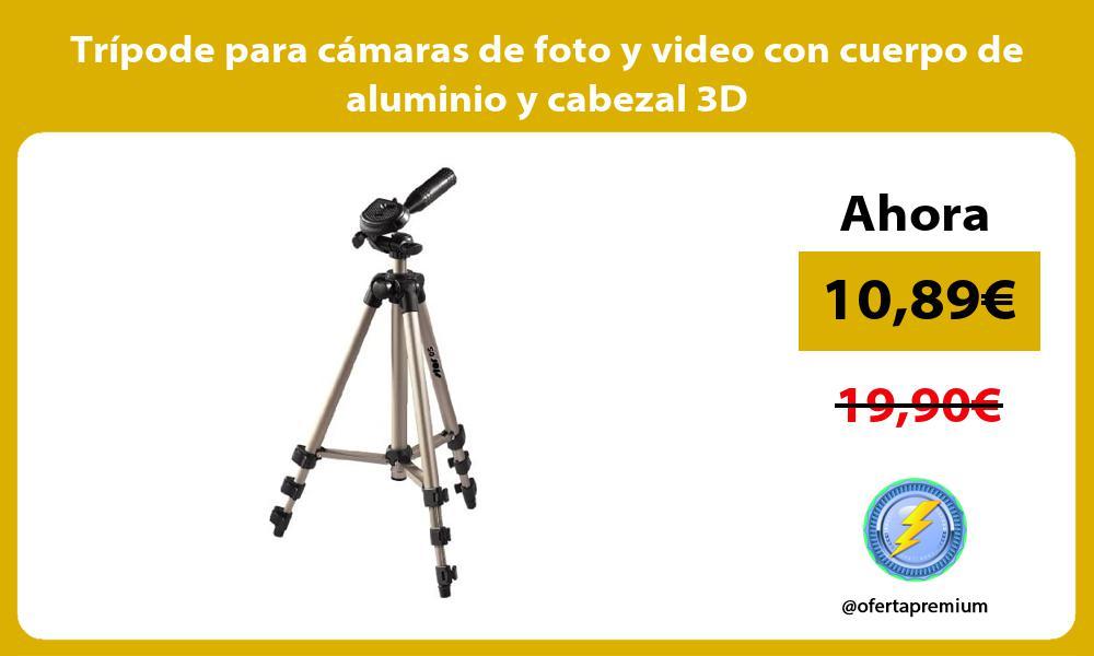 Trípode para cámaras de foto y video con cuerpo de aluminio y cabezal 3D