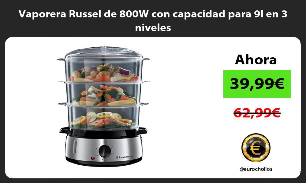 Vaporera Russel de 800W con capacidad para 9l en 3 niveles