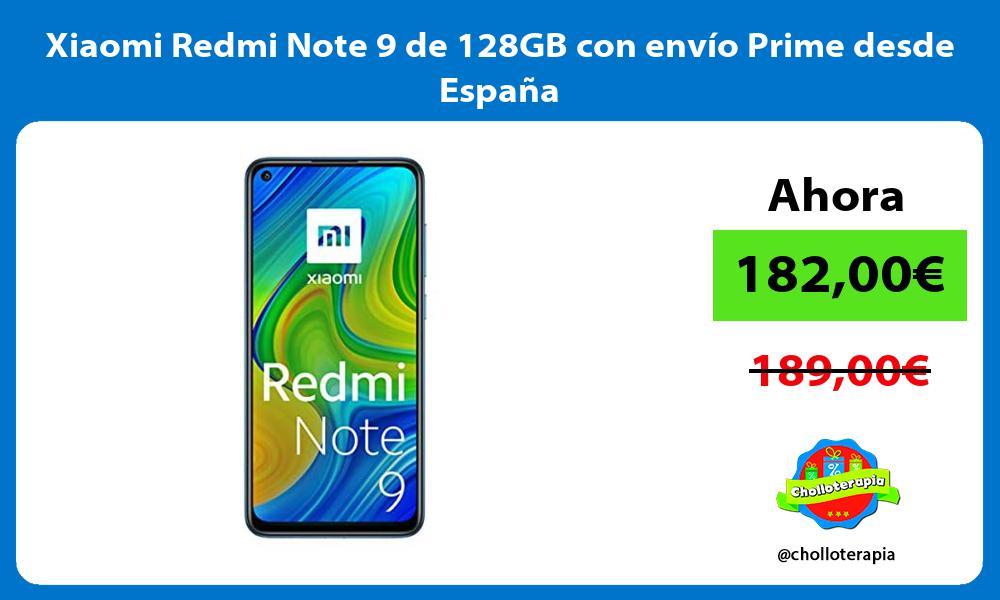 Xiaomi Redmi Note 9 de 128GB con envío Prime desde España