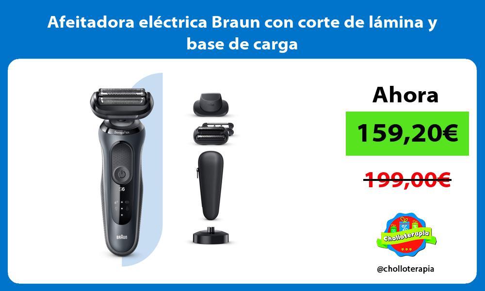 Afeitadora eléctrica Braun con corte de lámina y base de carga