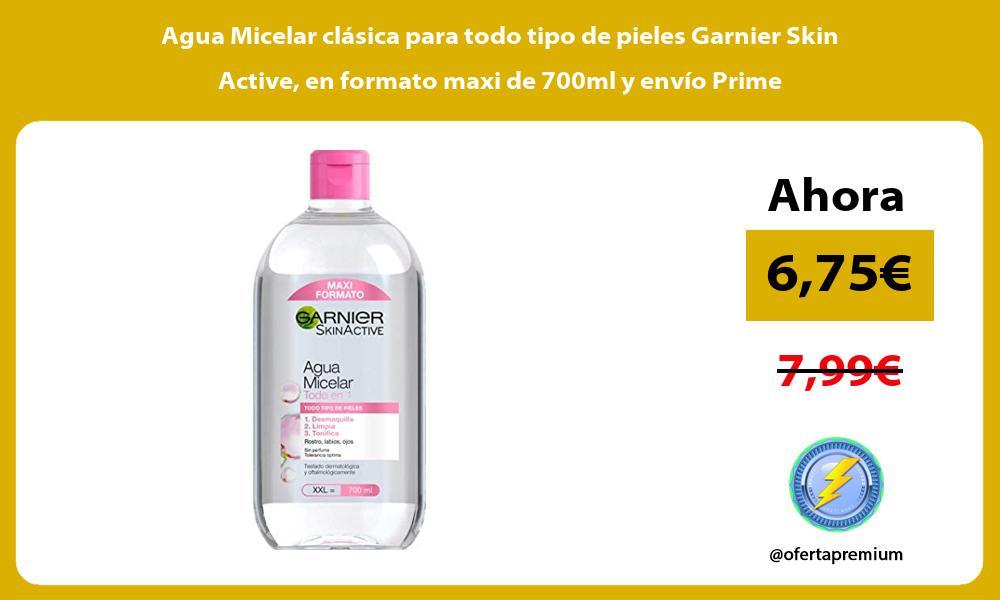 Agua Micelar clásica para todo tipo de pieles Garnier Skin Active en formato maxi de 700ml y envío Prime