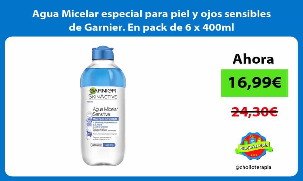 Agua Micelar especial para piel y ojos sensibles de Garnier En pack de 6 x 400ml