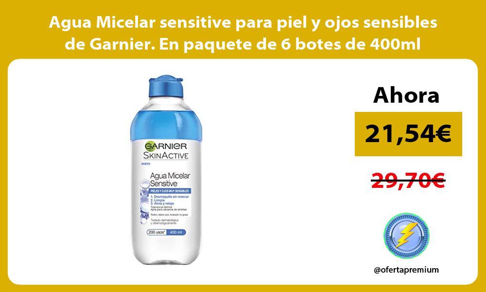 Agua Micelar sensitive para piel y ojos sensibles de Garnier En paquete de 6 botes de 400ml
