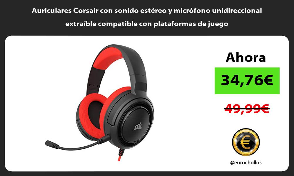 Auriculares Corsair con sonido estéreo y micrófono unidireccional extraíble compatible con plataformas de juego