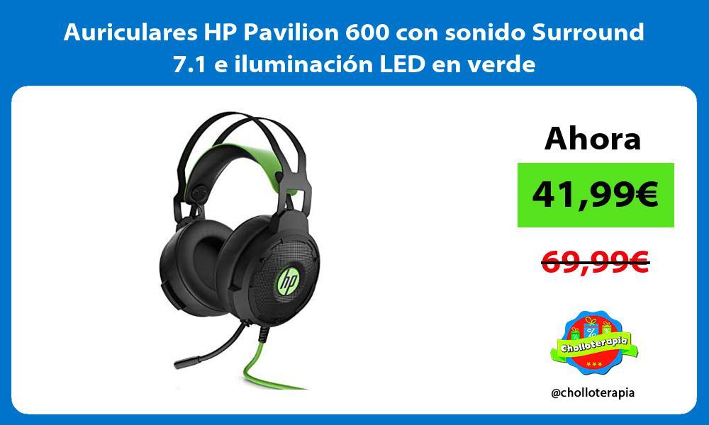 Auriculares HP Pavilion 600 con sonido Surround 7 1 e iluminación LED en verde
