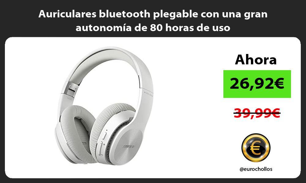 Auriculares bluetooth plegable con una gran autonomía de 80 horas de uso