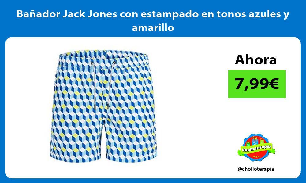 Bañador Jack Jones con estampado en tonos azules y amarillo