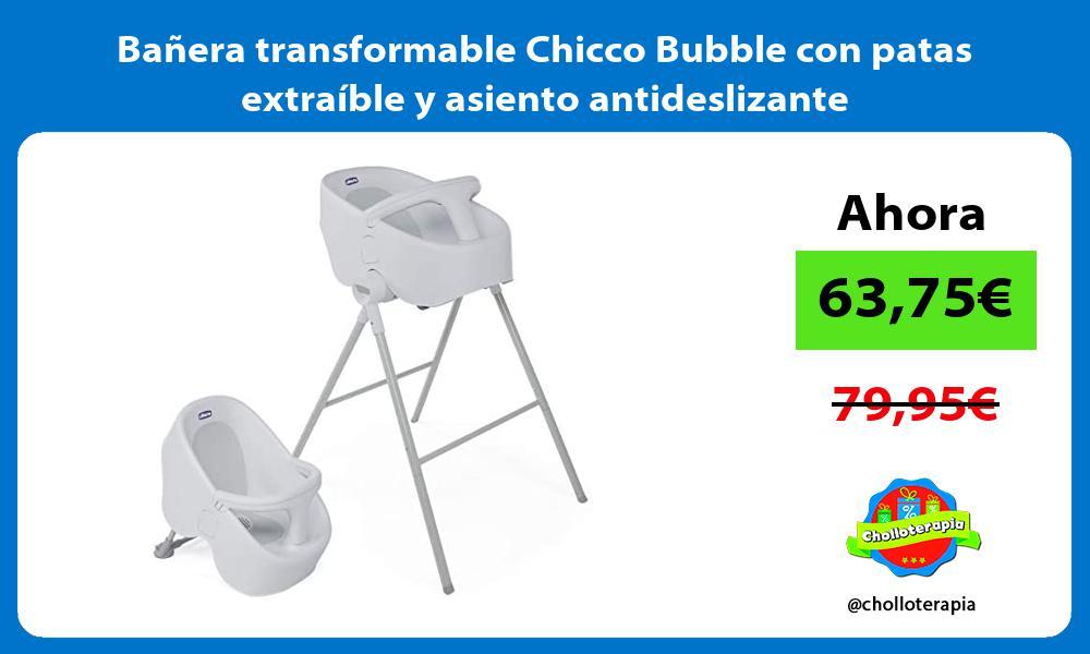 Bañera transformable Chicco Bubble con patas extraíble y asiento antideslizante