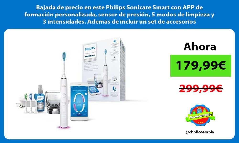 Bajada de precio en este Philips Sonicare Smart con APP de formación personalizada sensor de presión 5 modos de limpieza y 3 intensidades Además de incluir un set de accesorios